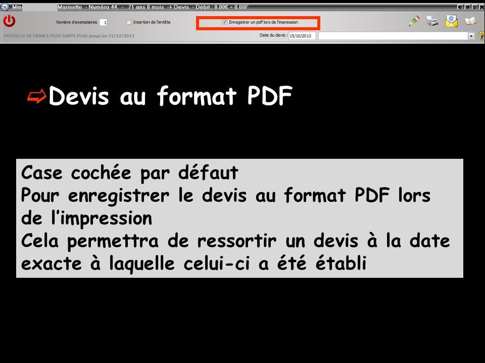 Devis au format PDF Case cochée par défaut