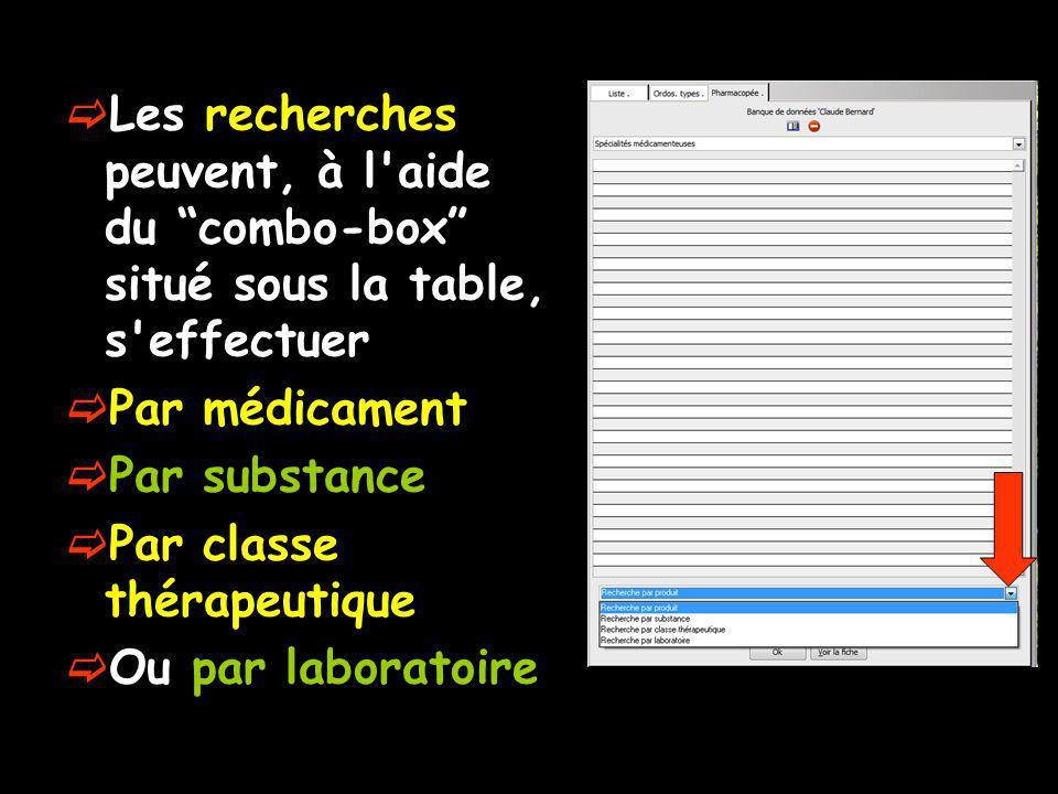 Les recherches peuvent, à l aide du combo-box situé sous la table, s effectuer