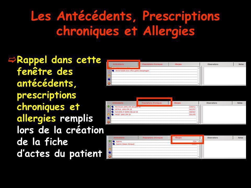 Les Antécédents, Prescriptions chroniques et Allergies