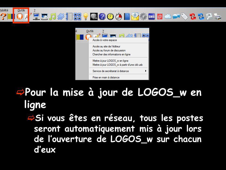 Pour la mise à jour de LOGOS_w en ligne