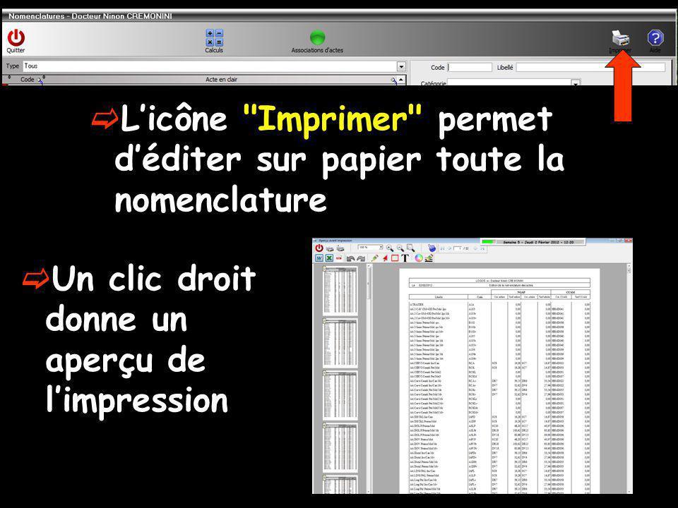 L'icône Imprimer permet d'éditer sur papier toute la nomenclature