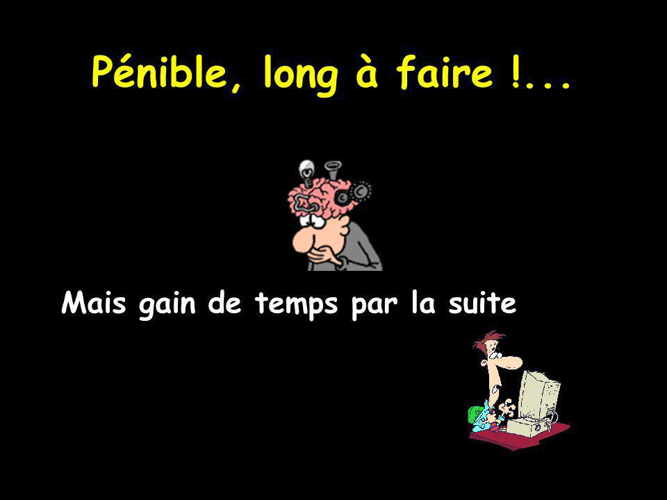 Pénible, long à faire !... Mais gain de temps par la suite