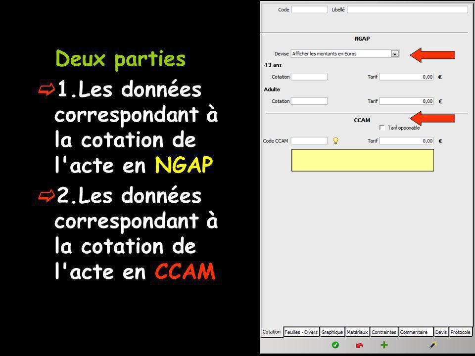 Deux parties 1.Les données correspondant à la cotation de l acte en NGAP.