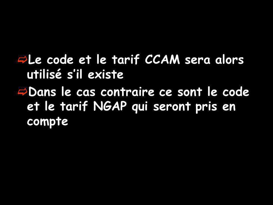 Le code et le tarif CCAM sera alors utilisé s'il existe