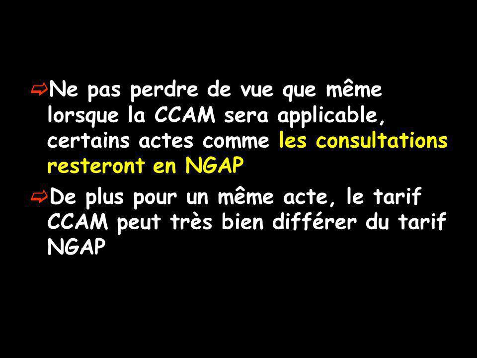 Ne pas perdre de vue que même lorsque la CCAM sera applicable, certains actes comme les consultations resteront en NGAP