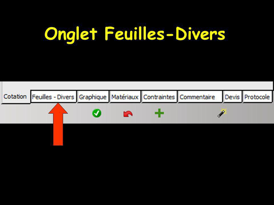 Onglet Feuilles-Divers
