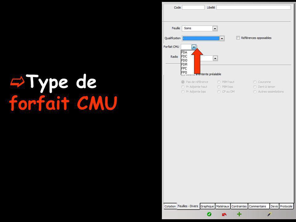 Type de forfait CMU