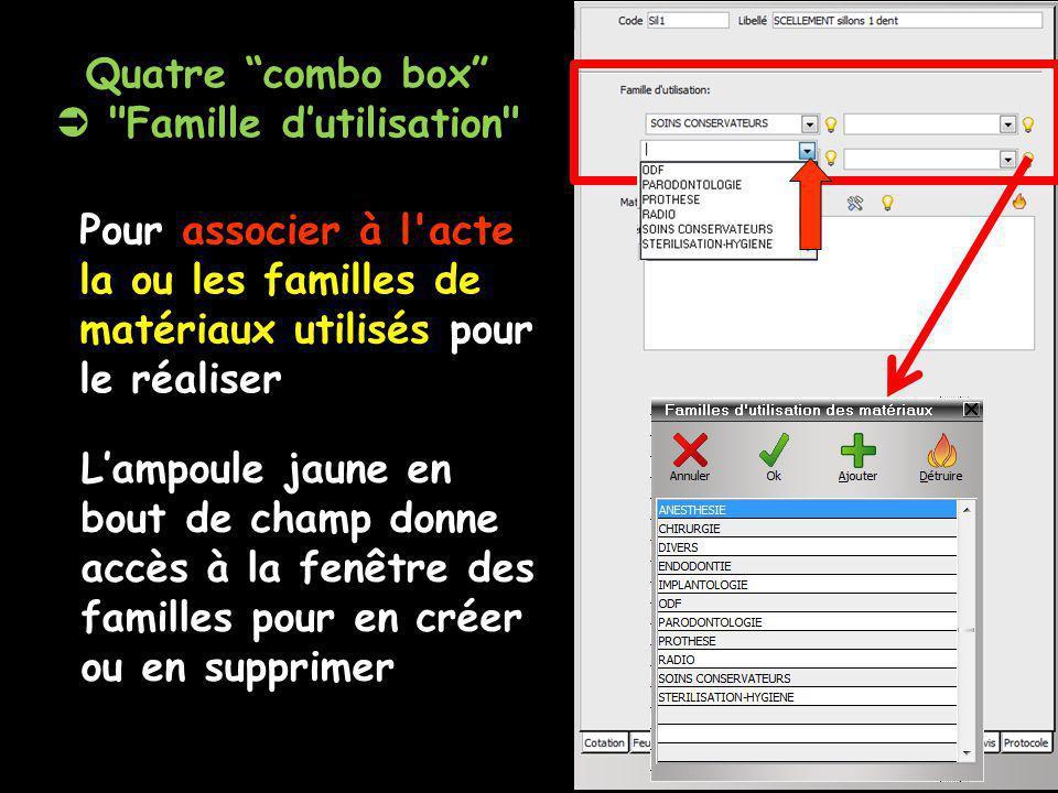 Quatre combo box  Famille d'utilisation