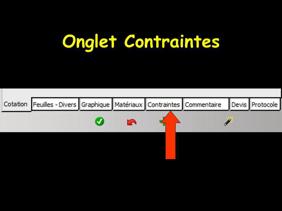 Onglet Contraintes