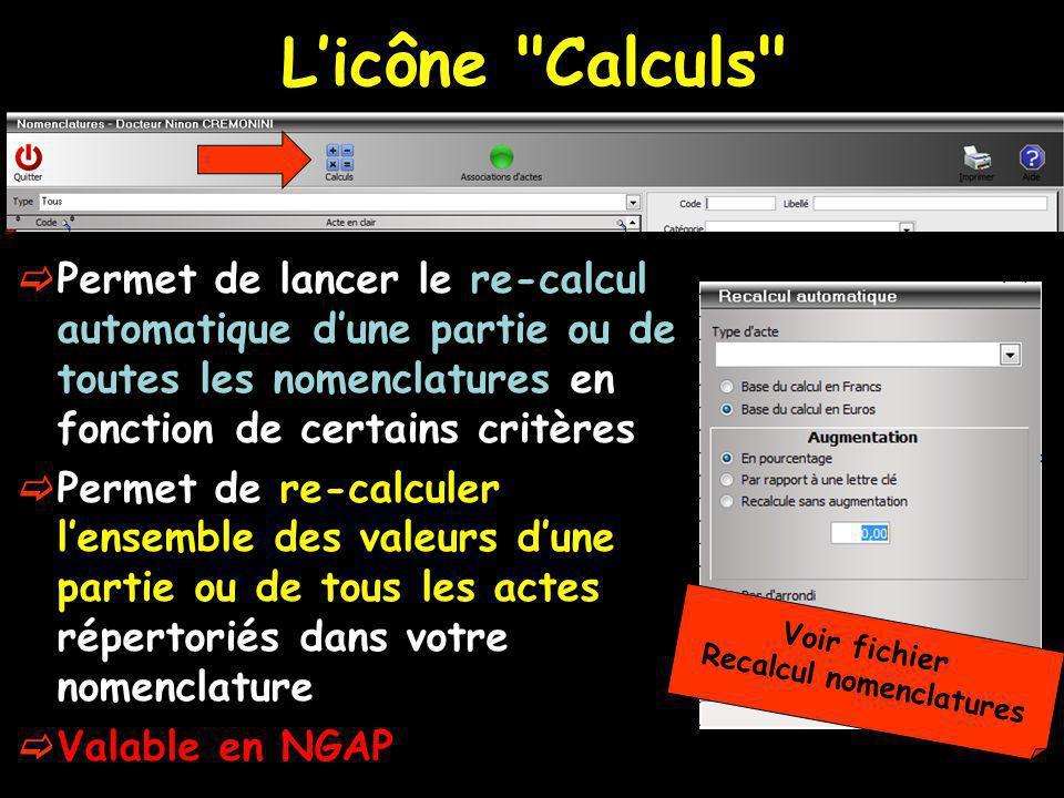 Recalcul nomenclatures