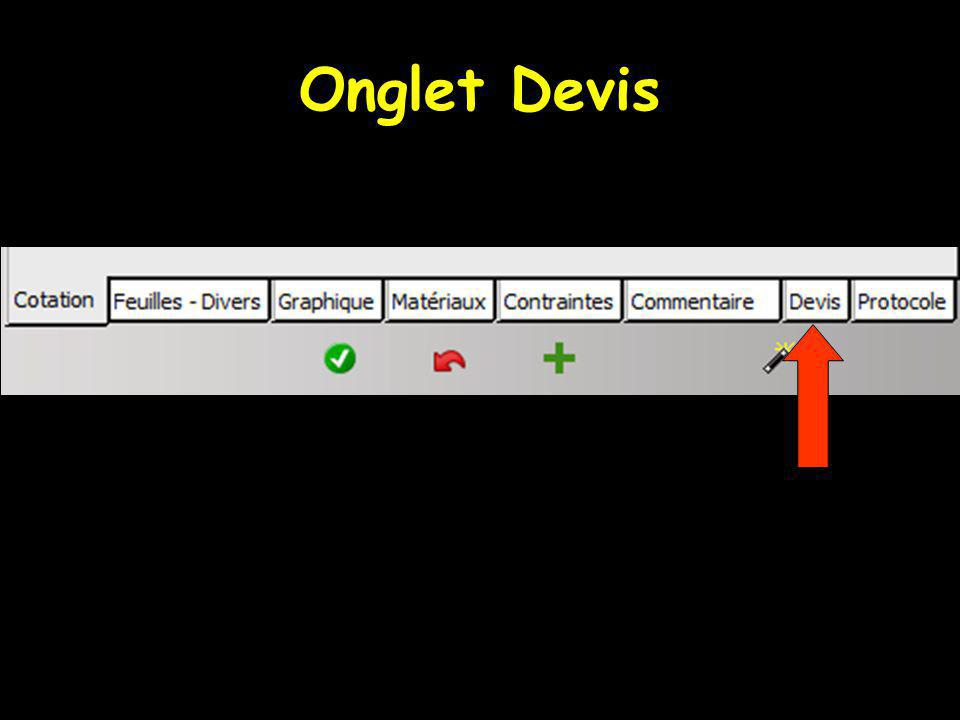 Onglet Devis