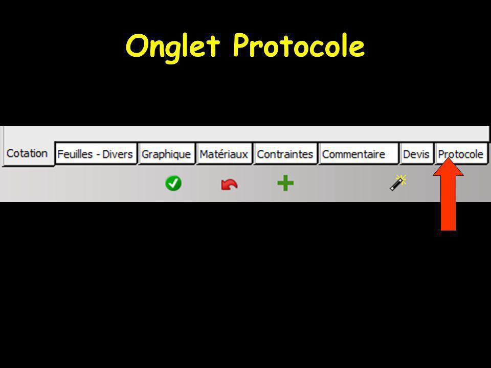 Onglet Protocole
