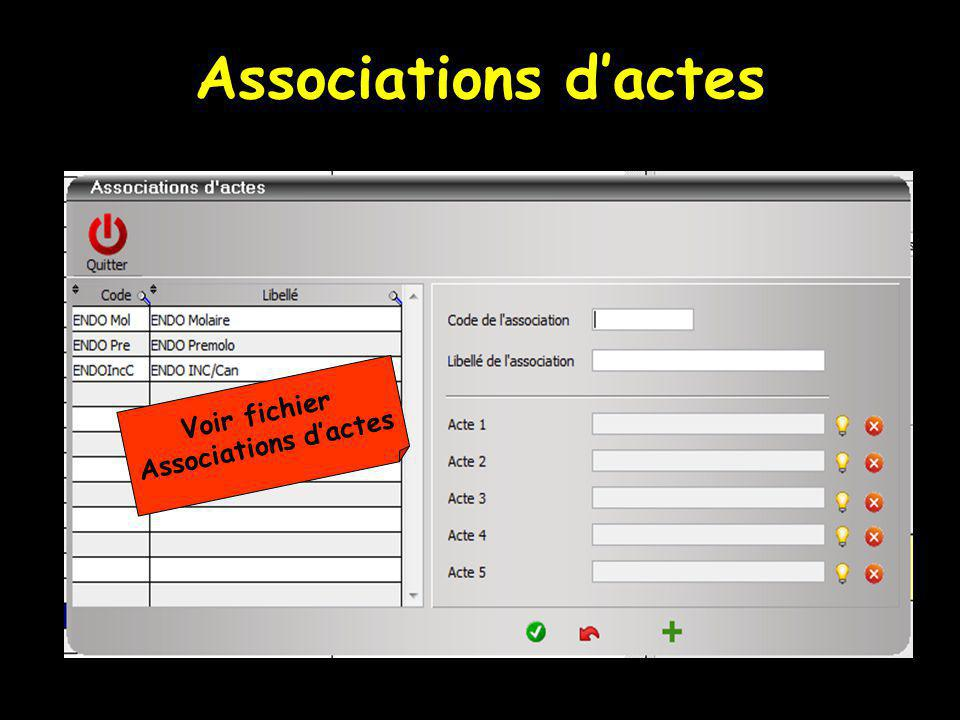 Associations d'actes Voir fichier Associations d'actes