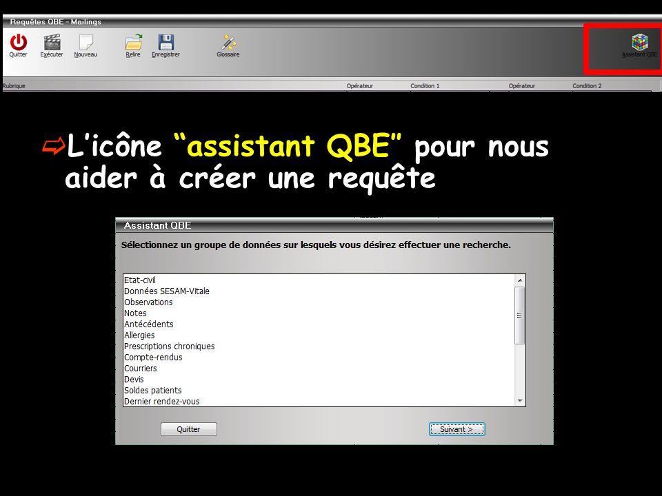 L'icône assistant QBE″ pour nous aider à créer une requête