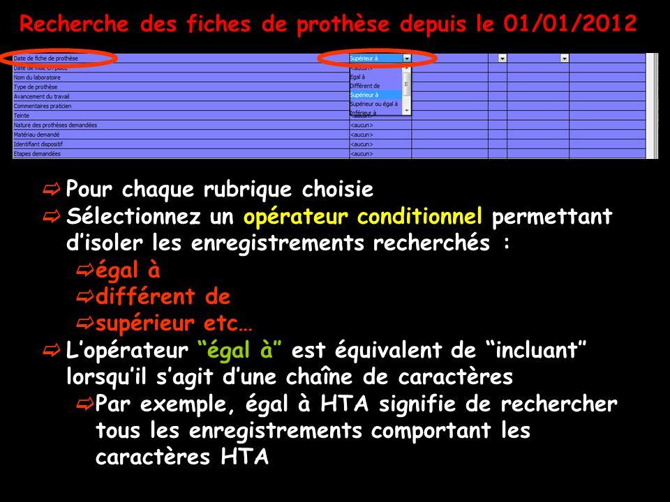 Recherche des fiches de prothèse depuis le 01/01/2012