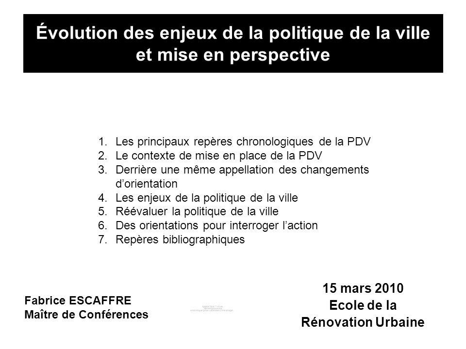 Évolution des enjeux de la politique de la ville et mise en perspective