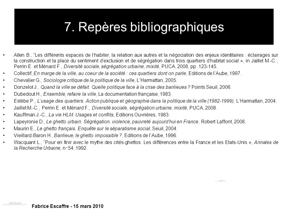7. Repères bibliographiques