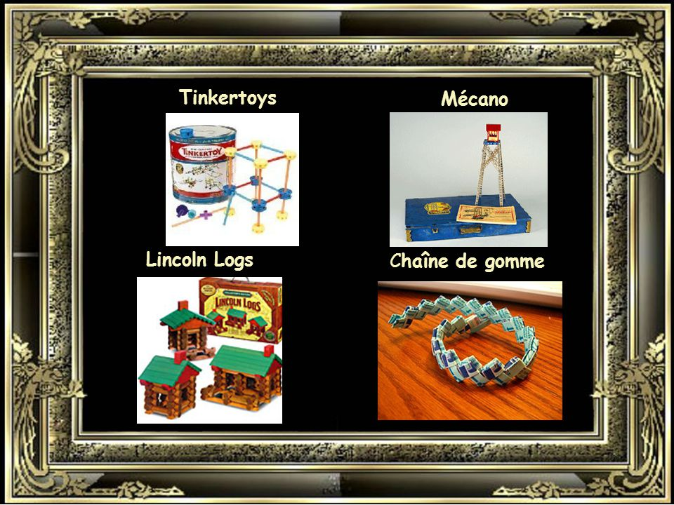 Tinkertoys Mécano Lincoln Logs Chaîne de gomme