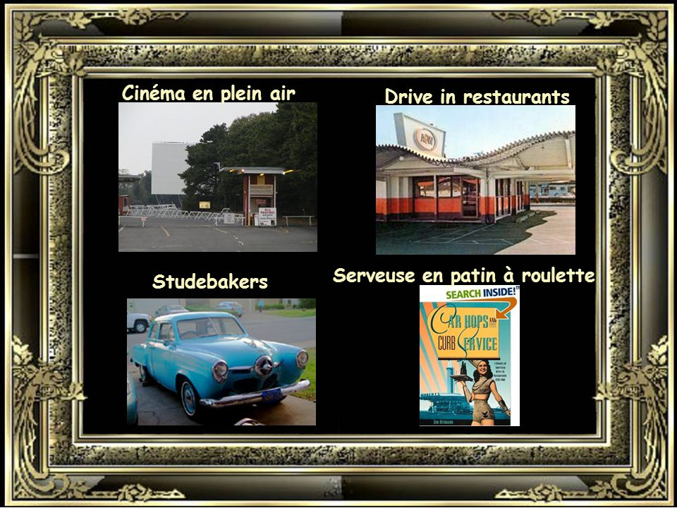 Cinéma en plein air Drive in restaurants Serveuse en patin à roulette Studebakers