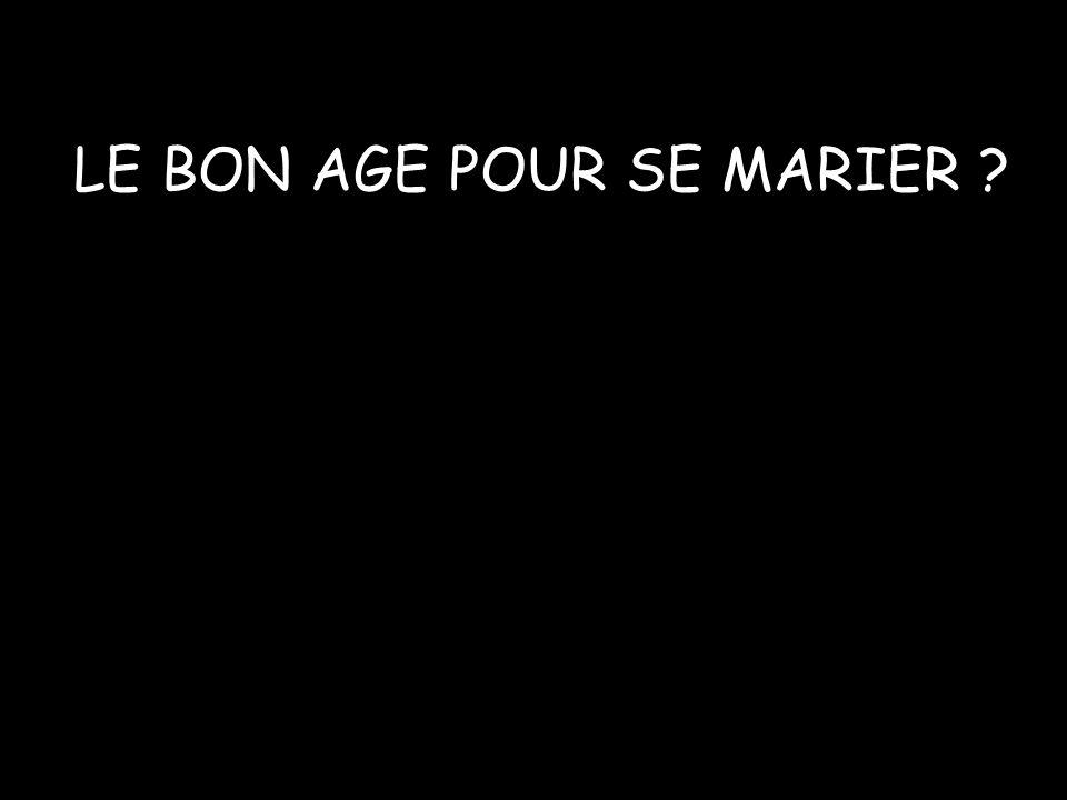 LE BON AGE POUR SE MARIER