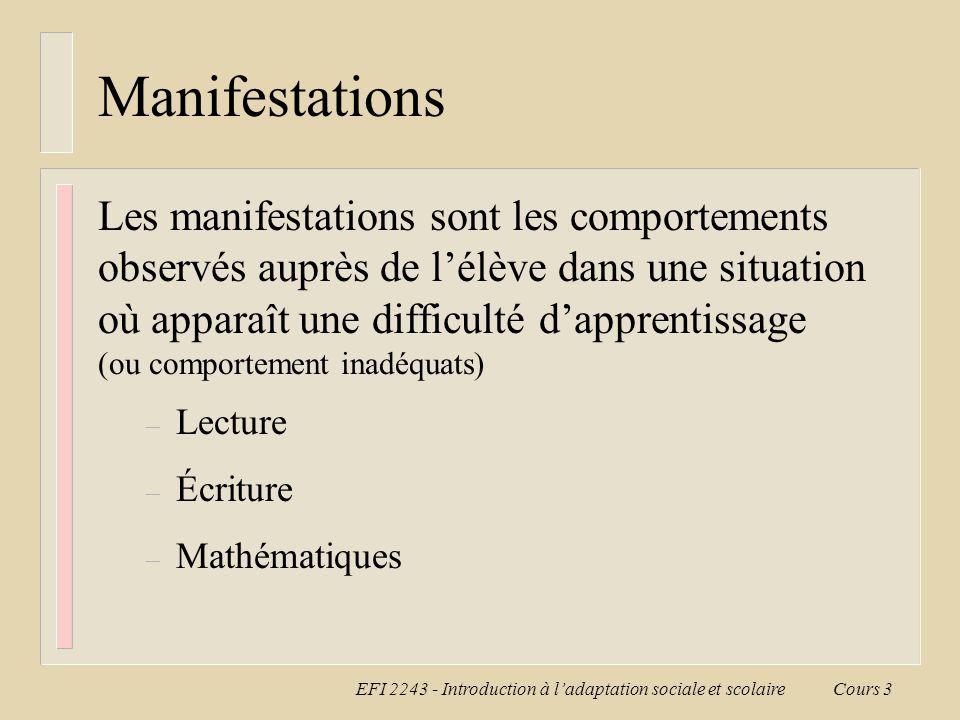 EFI 2243 - Introduction à l'adaptation sociale et scolaire Cours 3