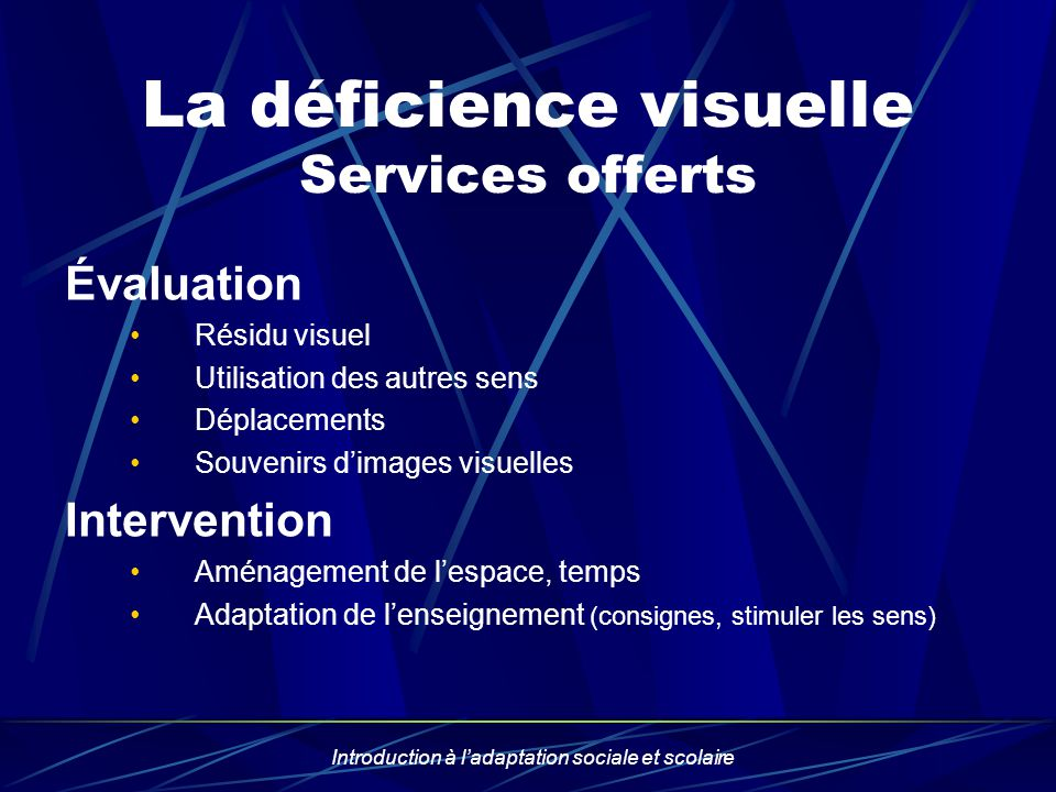 La déficience visuelle Services offerts