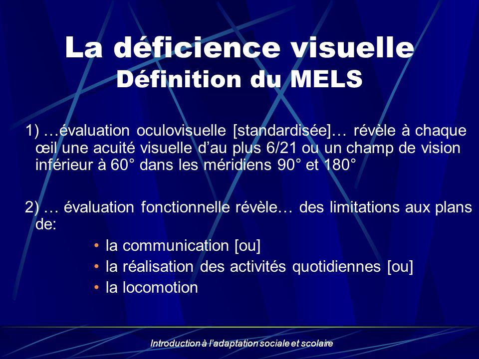 La déficience visuelle Définition du MELS