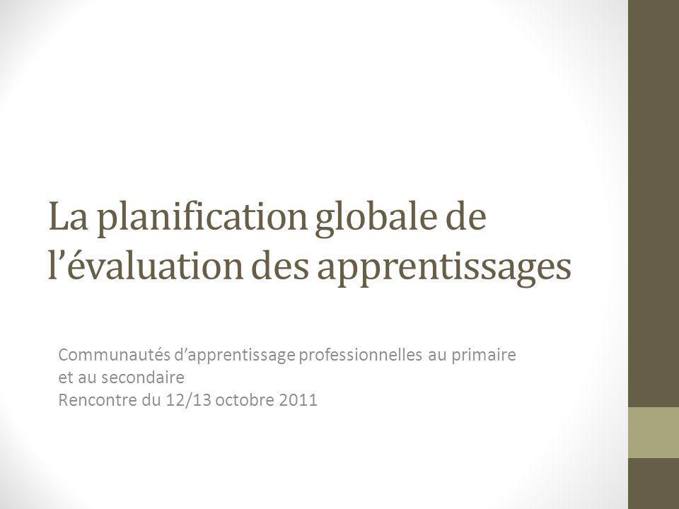 La planification globale de l'évaluation des apprentissages