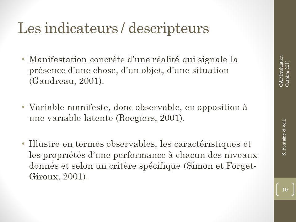 Les indicateurs / descripteurs