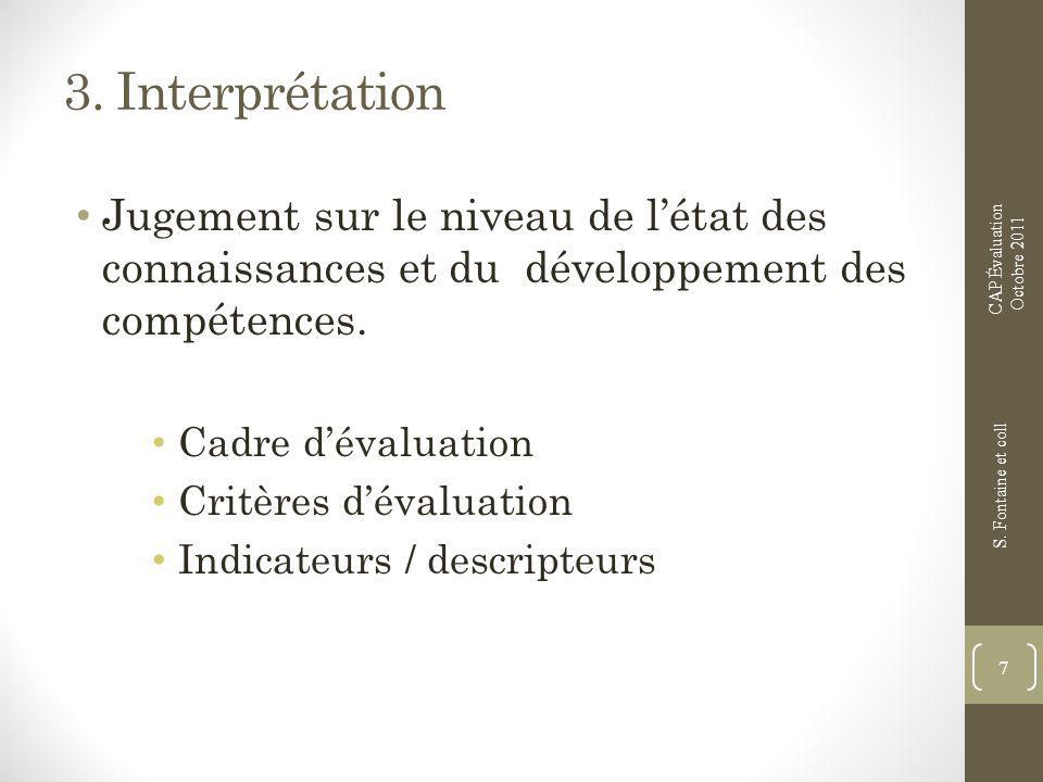 3. Interprétation CAP Évaluation. Octobre 2011. Jugement sur le niveau de l'état des connaissances et du développement des compétences.