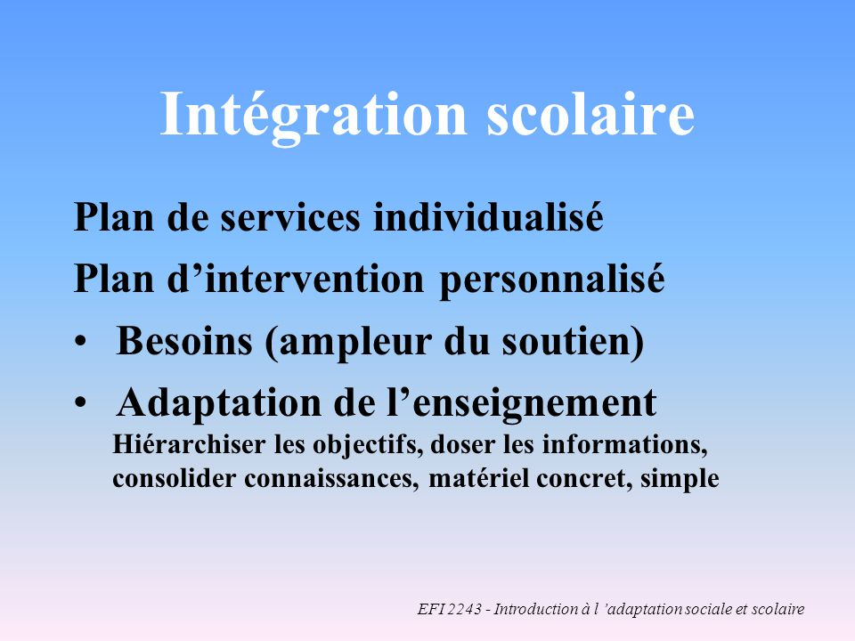 EFI 2243 - Introduction à l 'adaptation sociale et scolaire