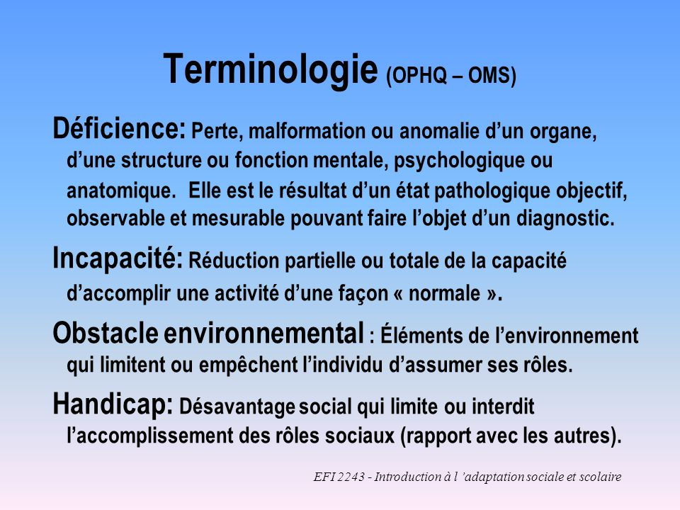 Terminologie (OPHQ – OMS)