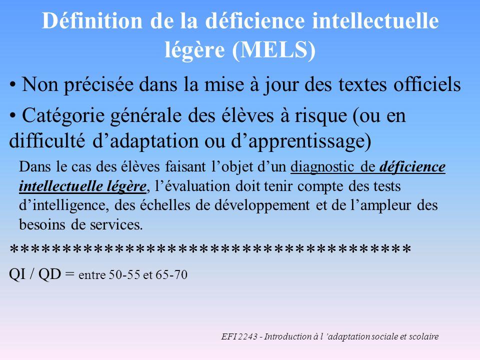 Définition de la déficience intellectuelle légère (MELS)