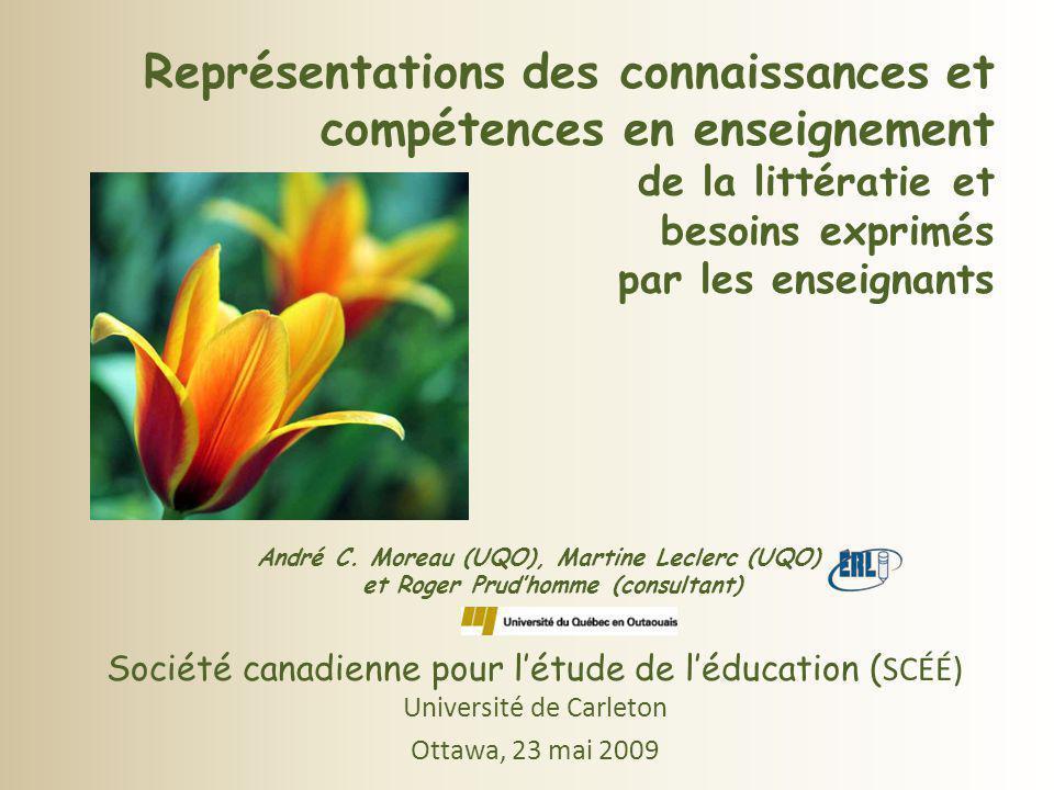 Représentations des connaissances et compétences en enseignement de la littératie et besoins exprimés par les enseignants André C. Moreau (UQO), Martine Leclerc (UQO) et Roger Prud'homme (consultant)