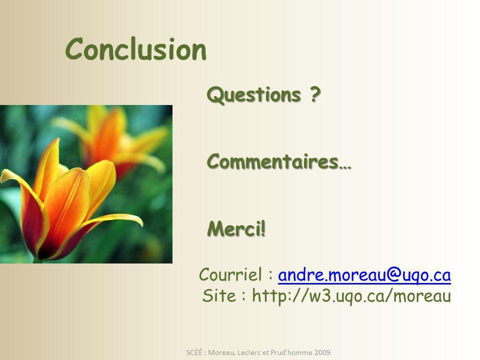 SCÉÉ : Moreau, Leclerc et Prud homme 2009