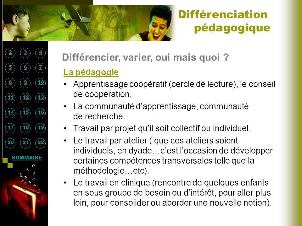 Différenciation pédagogique Différencier, varier, oui mais quoi