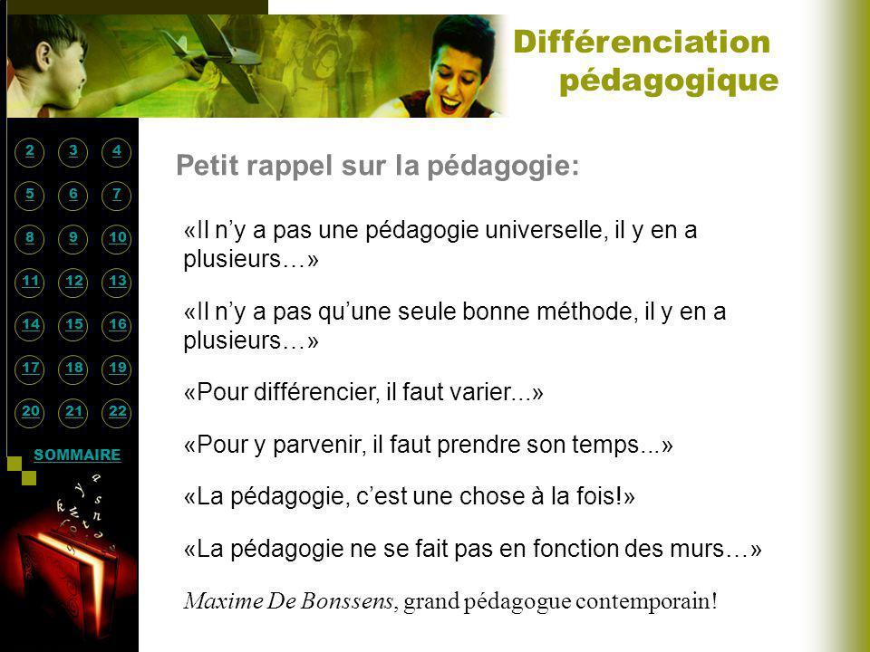 Différenciation pédagogique Petit rappel sur la pédagogie: