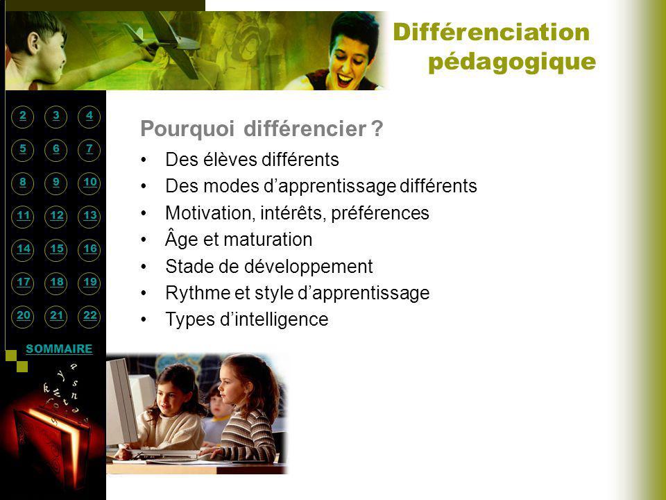 Différenciation pédagogique Pourquoi différencier