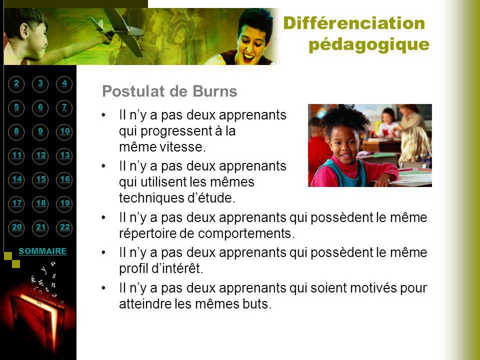 Différenciation pédagogique Postulat de Burns
