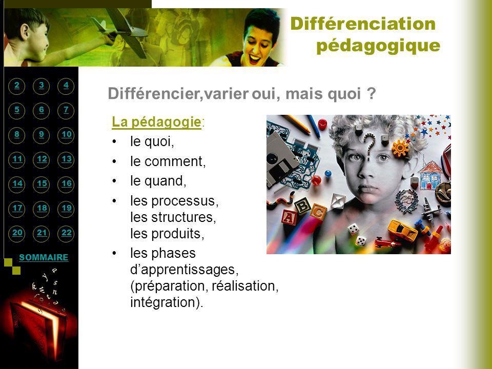 Différenciation pédagogique Différencier,varier oui, mais quoi
