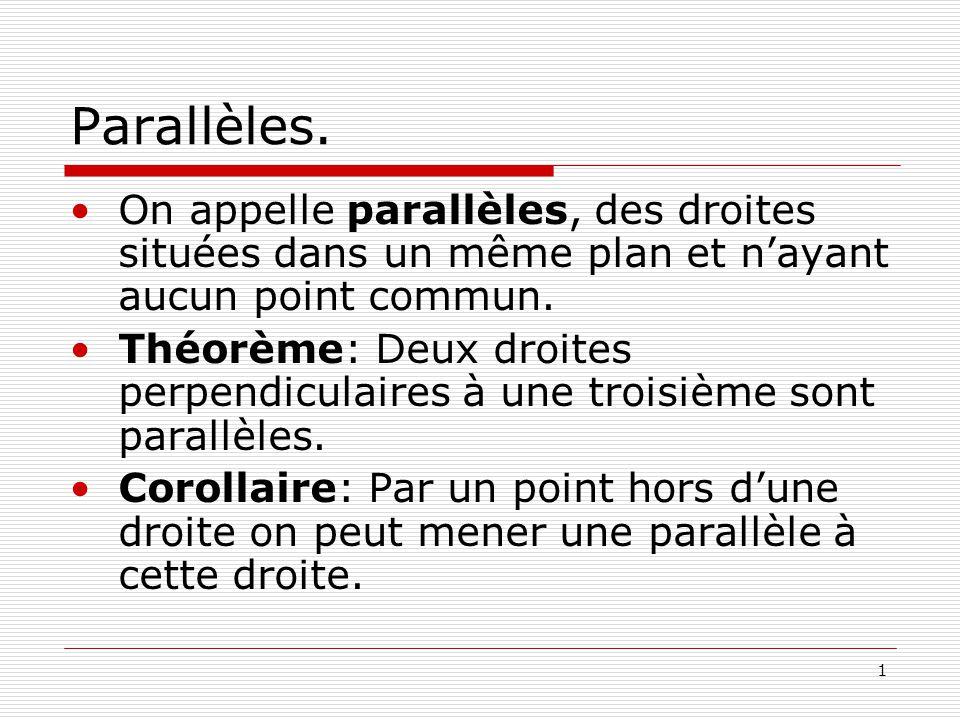 Parallèles. On appelle parallèles, des droites situées dans un même plan et n'ayant aucun point commun.
