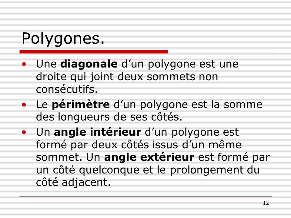 Polygones. Une diagonale d'un polygone est une droite qui joint deux sommets non consécutifs.
