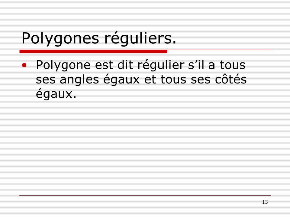 Polygones réguliers.