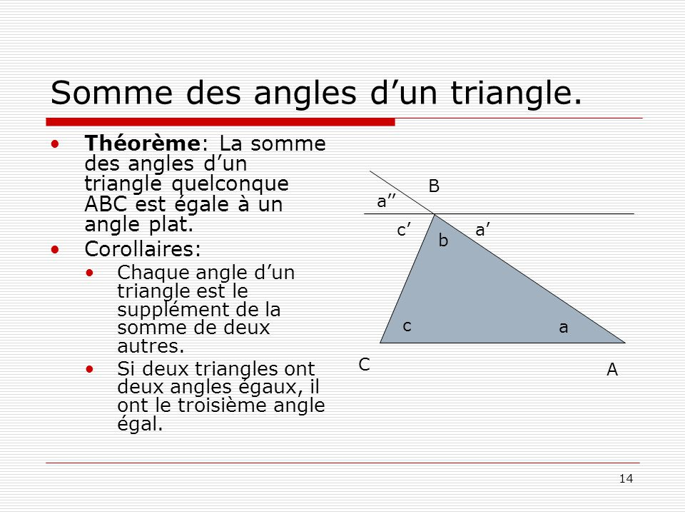Somme des angles d'un triangle.