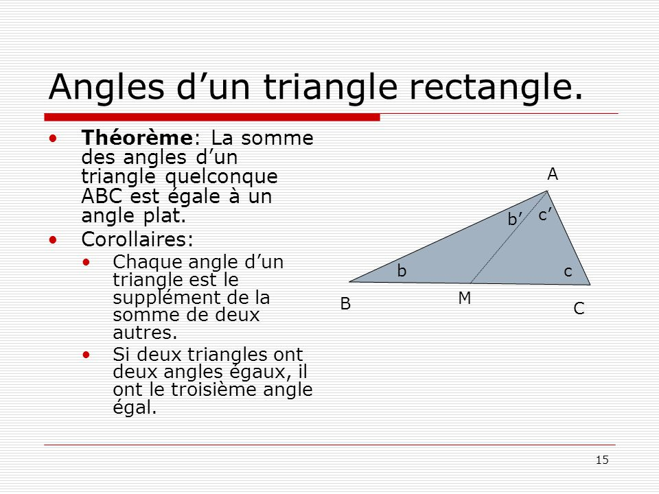 Angles d'un triangle rectangle.