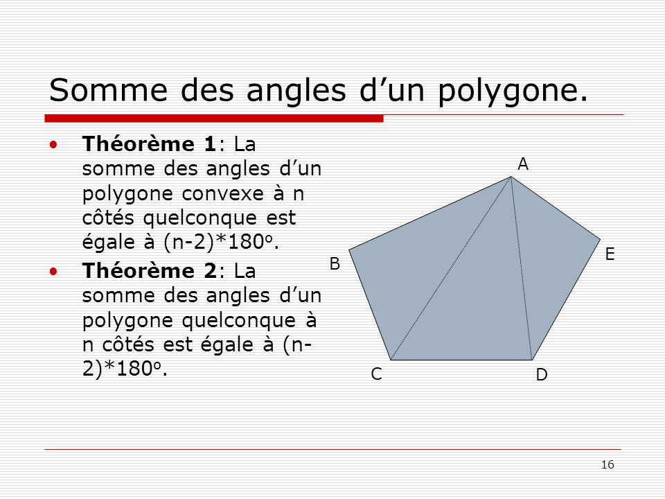 Somme des angles d'un polygone.