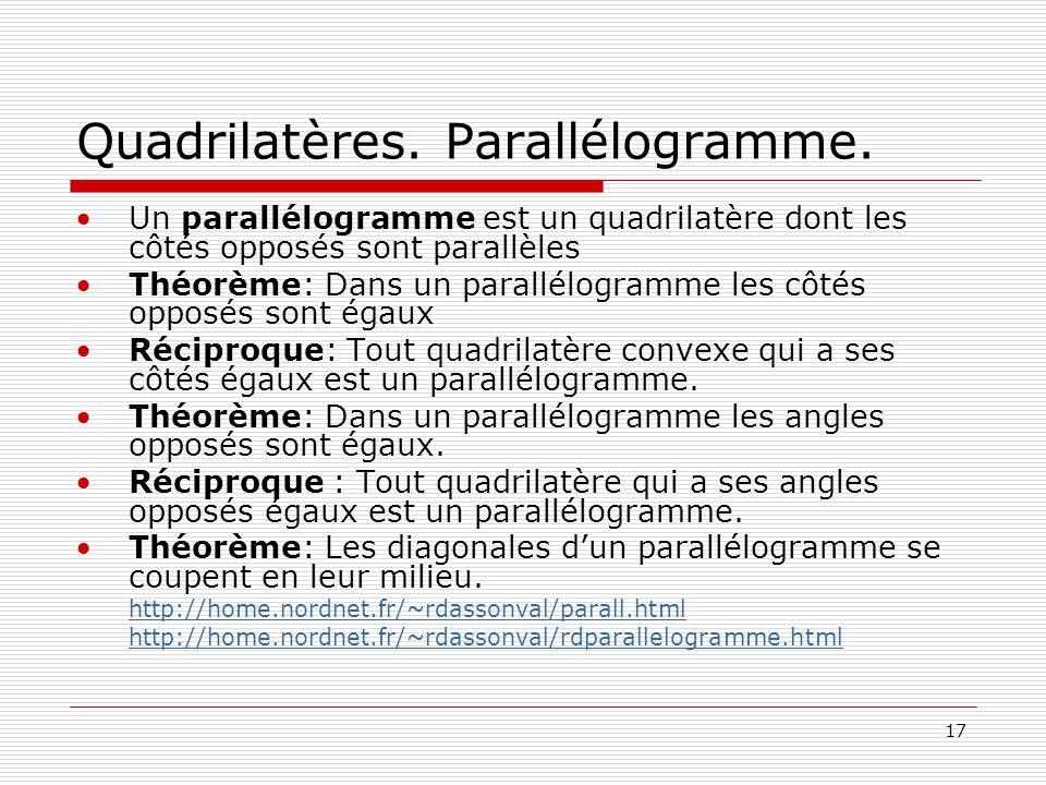 Quadrilatères. Parallélogramme.