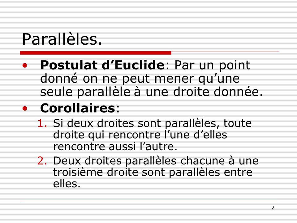 Parallèles. Postulat d'Euclide: Par un point donné on ne peut mener qu'une seule parallèle à une droite donnée.