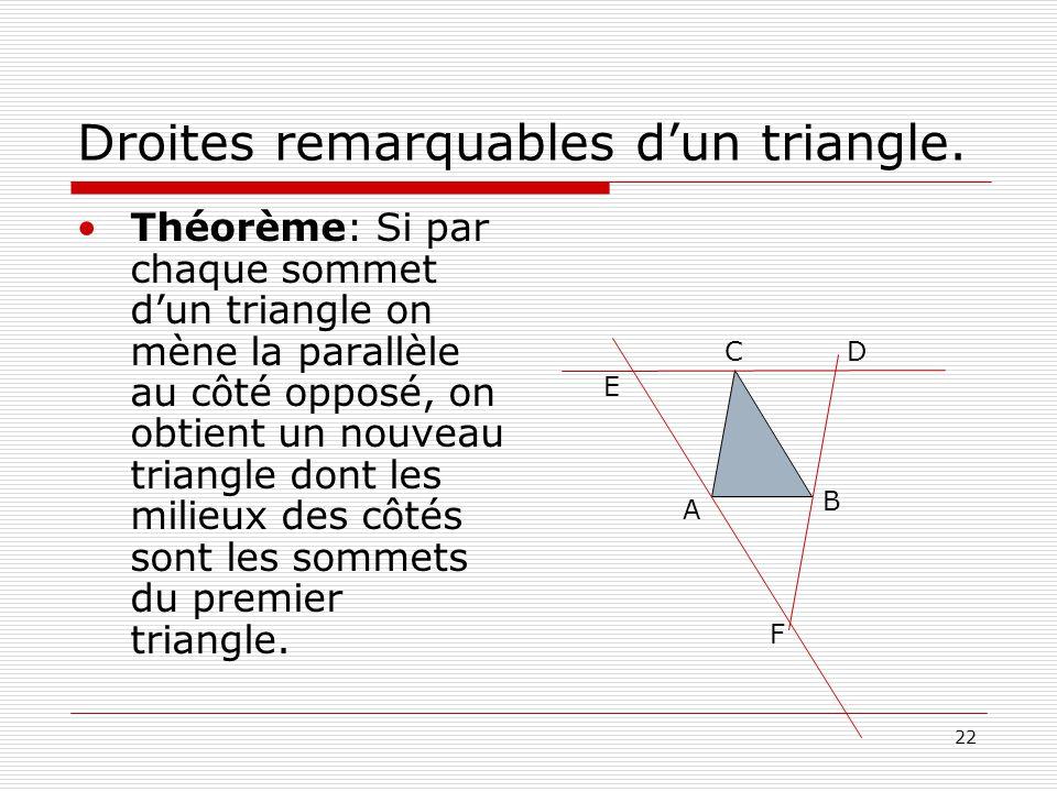 Droites remarquables d'un triangle.