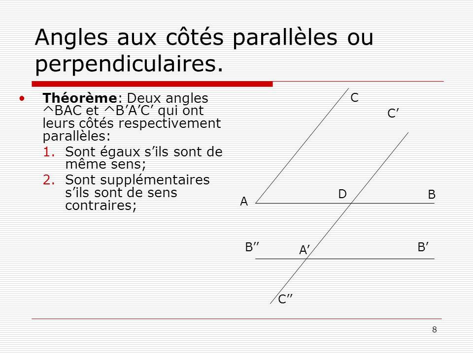 Angles aux côtés parallèles ou perpendiculaires.